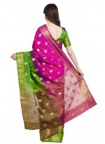 Woven Art Silk Designer Traditional Saree in Green and Hot Pink