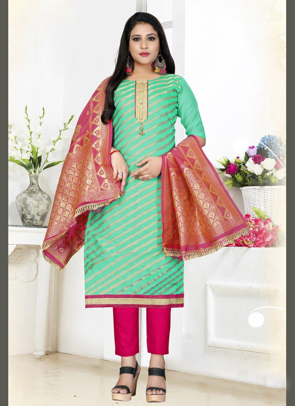 Woven Art Silk Teal Designer Salwar Kameez