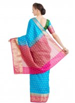 Woven Art Silk Traditional Saree in Blue and Green
