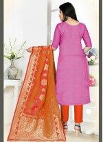 Woven Art Silk Trendy Salwar Kameez in Pink