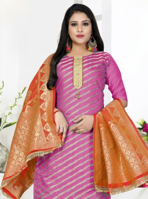 Woven Art Silk Trendy Salwar Kameez in Pink