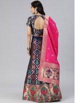 Woven Banarasi Silk Blue A Line Lehenga Choli