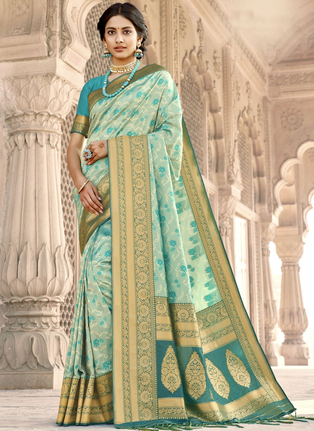 Woven Banarasi Silk Designer Saree in Aqua Blue