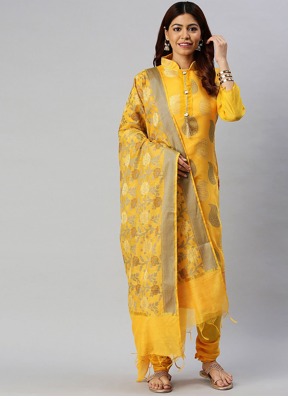 Woven Banarasi Silk Designer Suit in Yellow