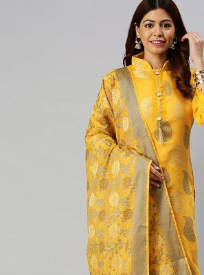 Woven Banarasi Silk Designer Suit in Yellow