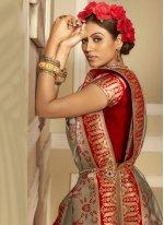 Woven Banarasi Silk Grey and Red Traditional Designer Saree