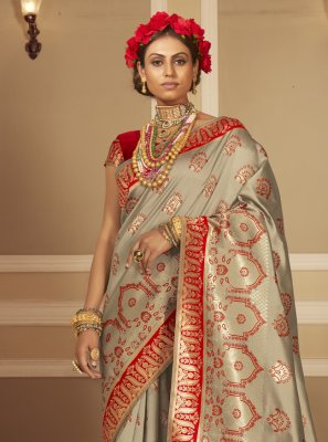 Woven Banarasi Silk Grey and Red Traditional Designer Saree