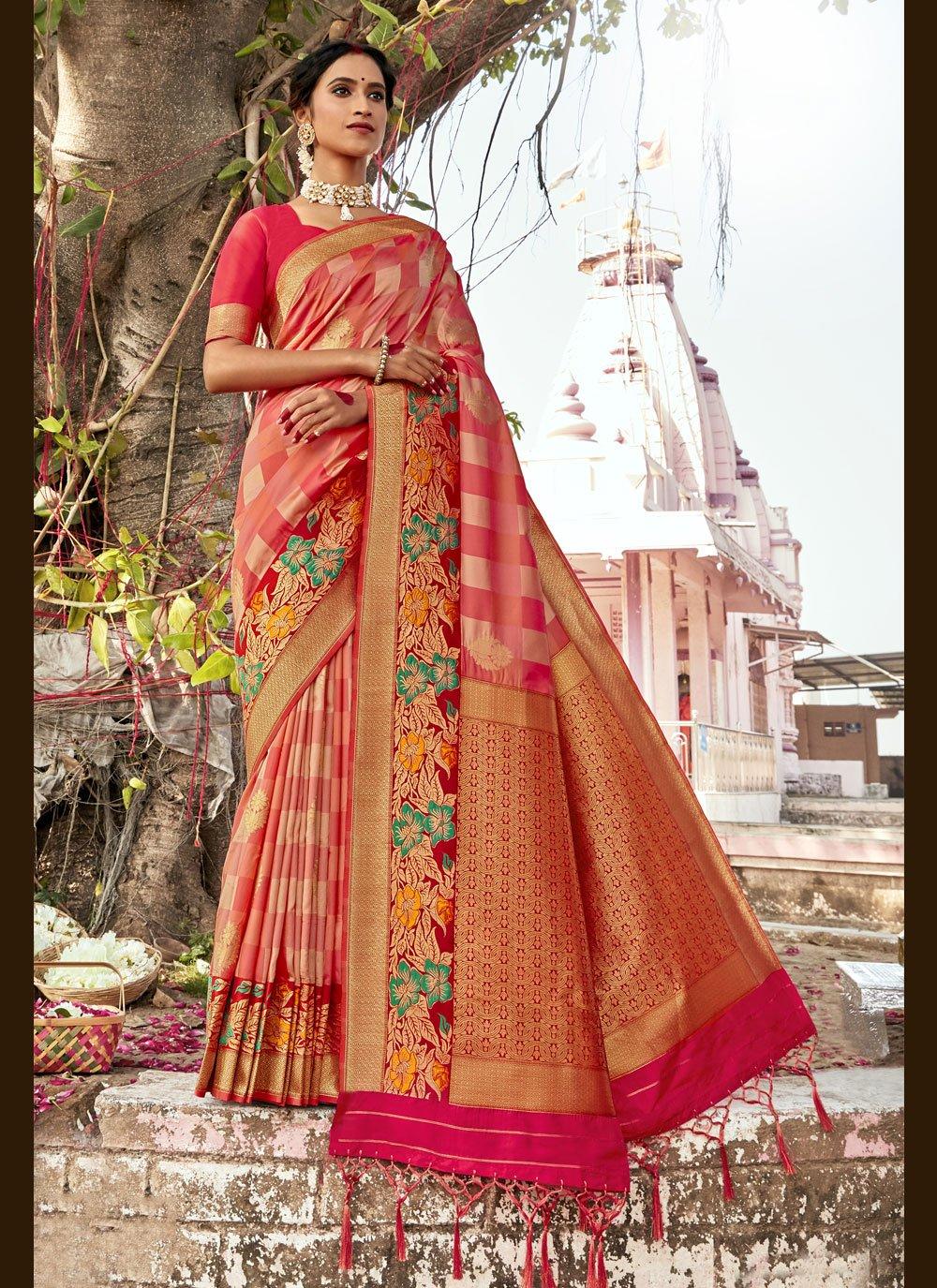 Woven Banarasi Silk Traditional Designer Saree in Multi Colour