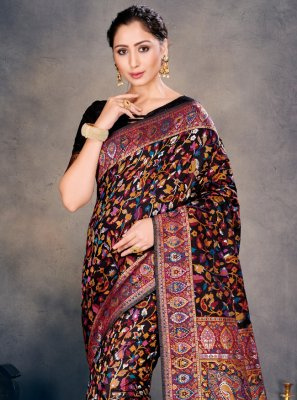 Woven Black Traditional Designer Saree