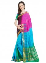 Woven Blue and Pink Traditional Designer Saree