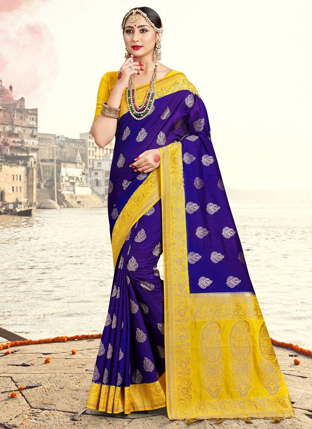 Woven Blue Art Banarasi Silk Traditional Saree