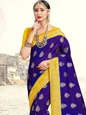 Woven Blue Art Banarasi Silk Traditional Saree