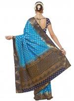 Woven Blue Banarasi Silk Designer Traditional Saree