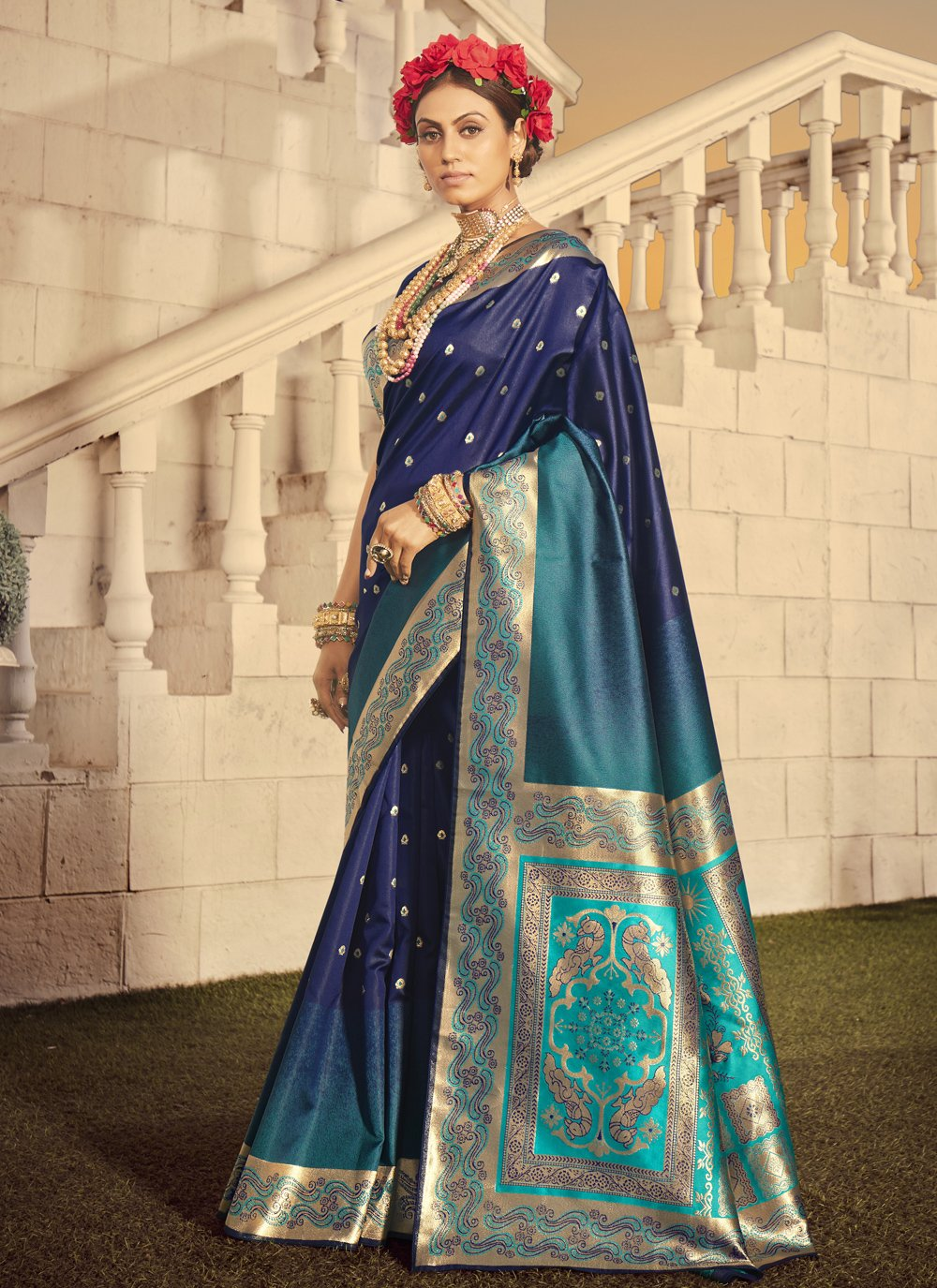Woven Blue Designer Traditional Saree