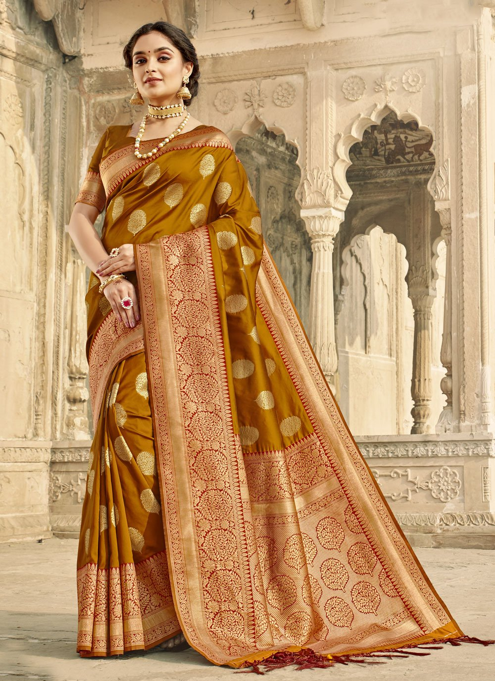 Woven Brown Classic Designer Saree