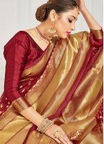 Woven Ceremonial Designer Half N Half Saree
