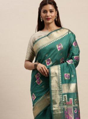Woven Chanderi Cotton Sea Green Designer Traditional Saree