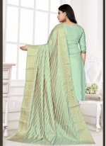 Woven Cotton Designer Salwar Suit in Green