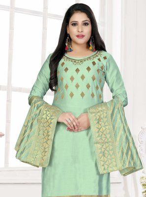 Woven Cotton Designer Salwar Suit in Green