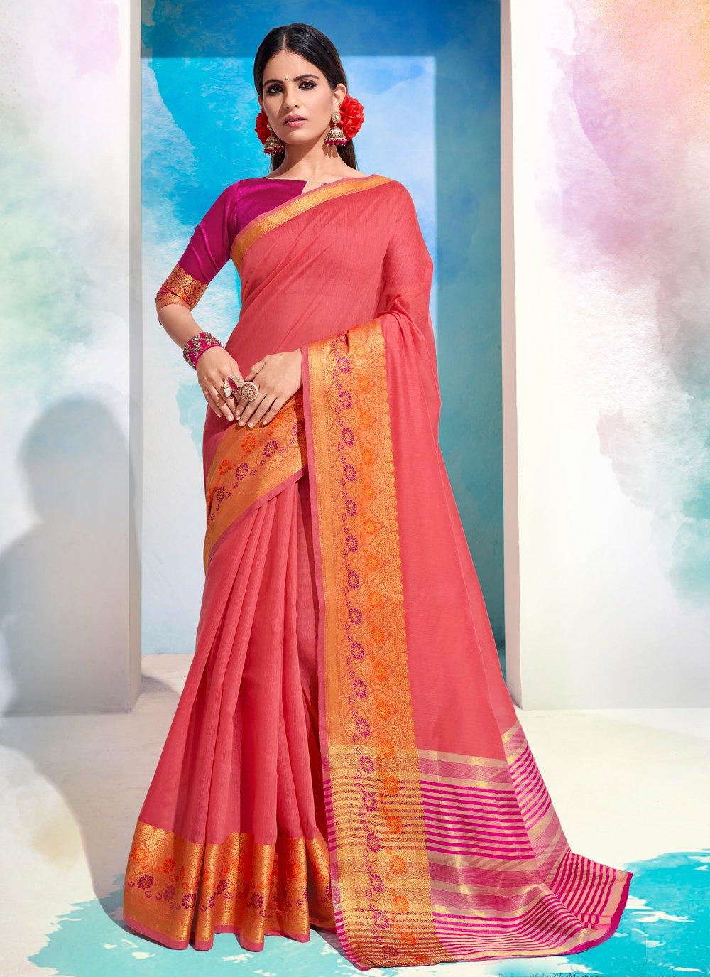 Woven Cotton Designer Saree in Pink