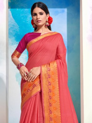 Woven Cotton Designer Saree in Pink