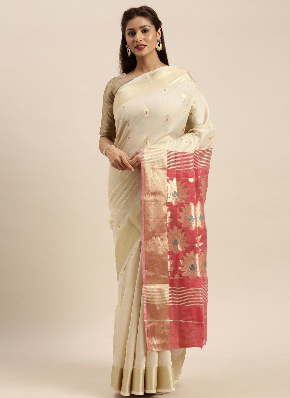 Woven Cotton Off White Traditional Designer Saree