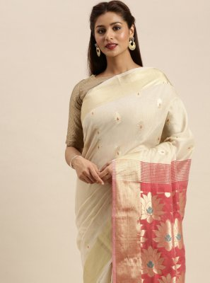 Woven Cotton Off White Traditional Designer Saree