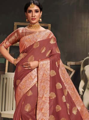 Woven Cotton Silk Brown Designer Traditional Saree