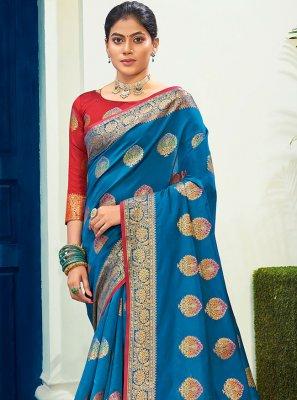 Woven Cotton Silk Designer Traditional Saree in Blue