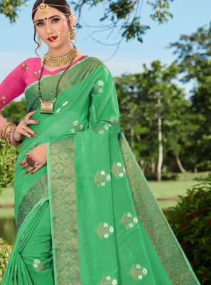 Woven Cotton Silk Designer Traditional Saree in Green