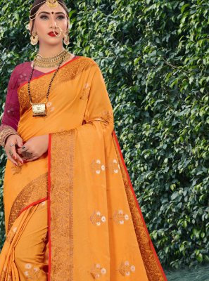 Woven Cotton Silk Traditional Designer Saree in Orange