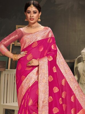 Woven Cotton Silk Traditional Saree in Rani