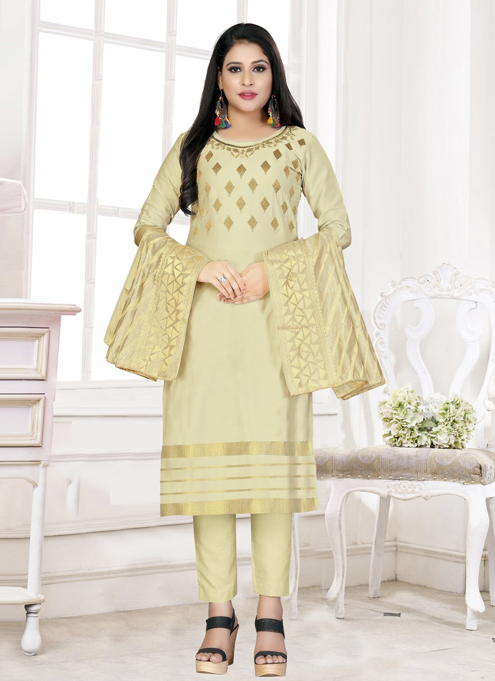 Woven Cotton Straight Salwar Kameez
