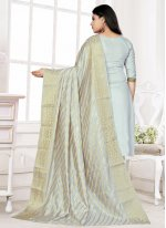 Woven Cotton Trendy Salwar Kameez in Blue