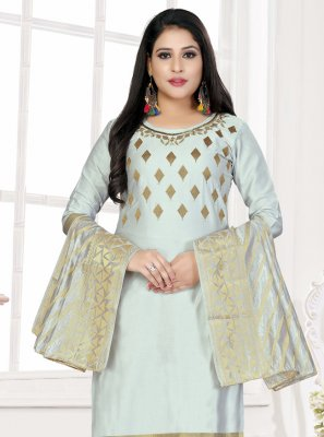 Woven Cotton Trendy Salwar Kameez in Blue