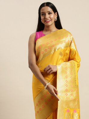 Woven Gold Jacquard Silk Traditional Saree