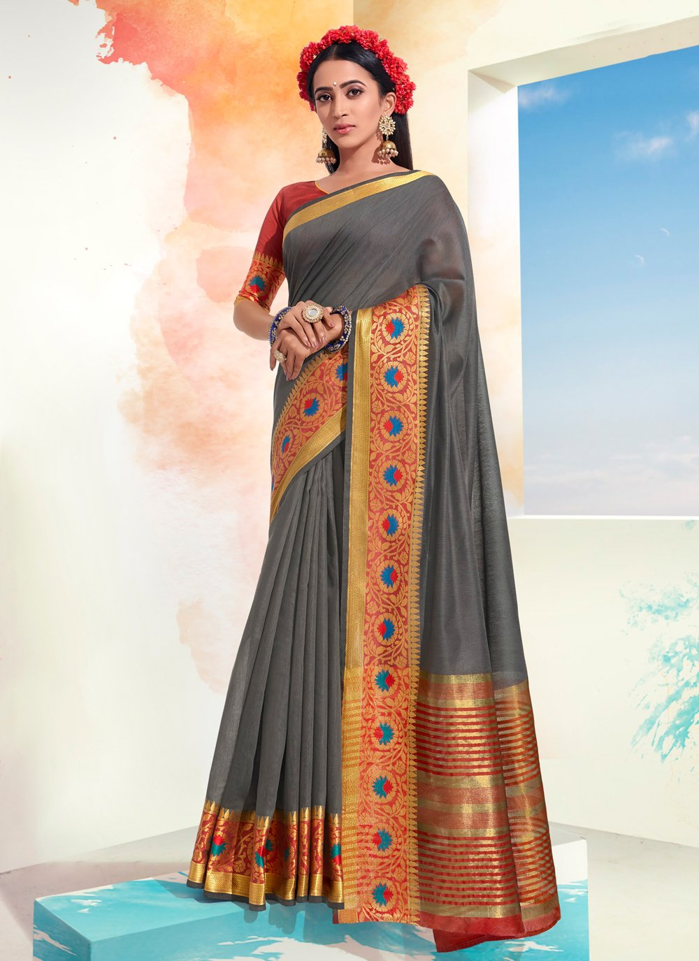 Woven Grey Designer Saree
