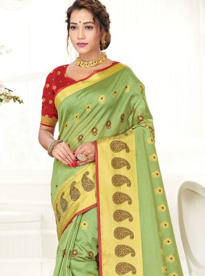 Woven Handloom Cotton Green Traditional Saree