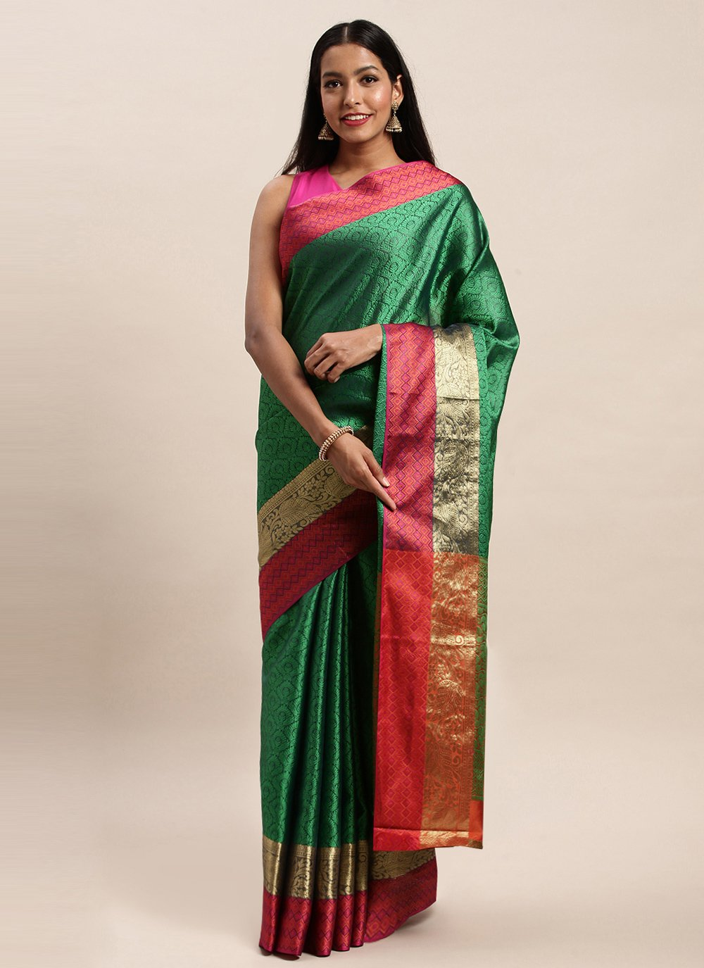 Woven Handloom silk Designer Traditional Saree in Green