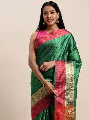 Woven Handloom silk Designer Traditional Saree in Green
