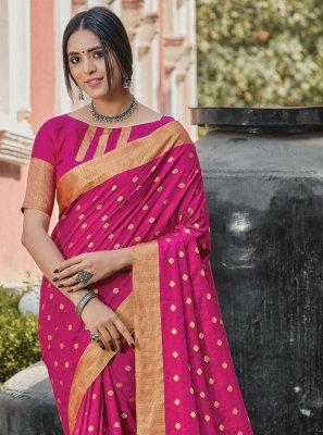 Woven Handloom silk Hot Pink Traditional Designer Saree