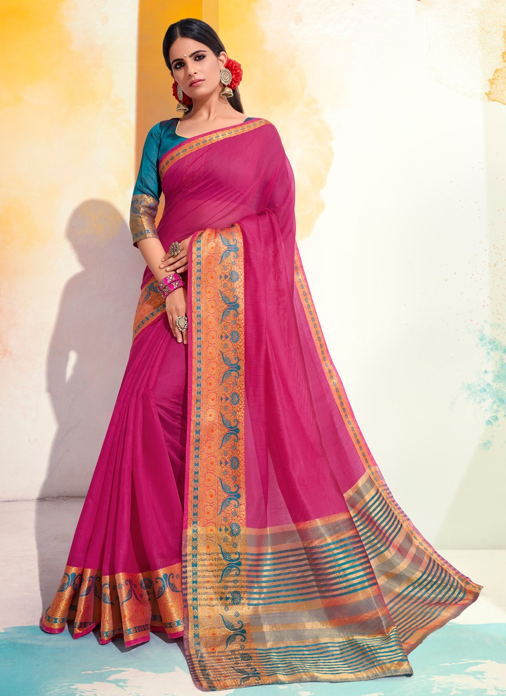 Woven Hot Pink Cotton Designer Saree
