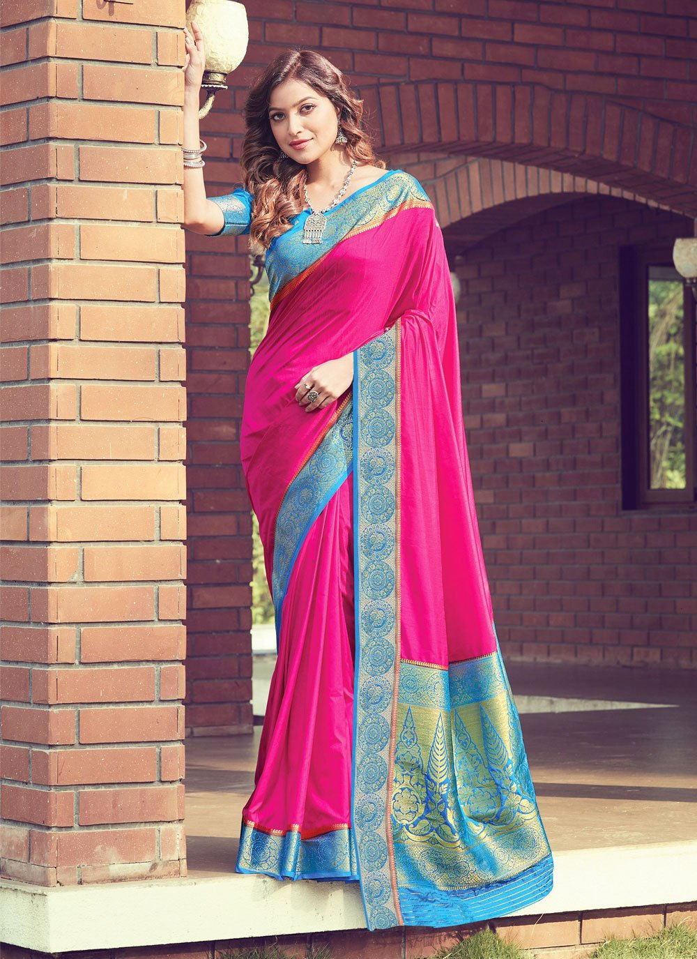 Woven Hot Pink Traditional Designer Saree