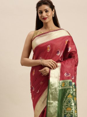 Woven Maroon Traditional Saree