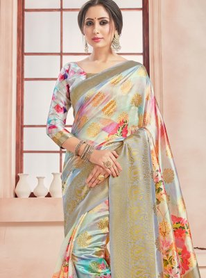 Woven Multi Colour Printed Saree