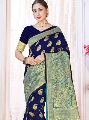 Woven Navy Blue Art Banarasi Silk Designer Traditional Saree
