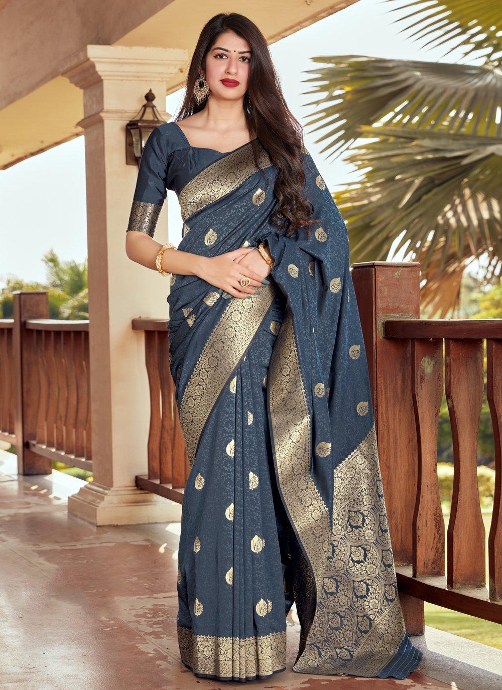 Woven Navy Blue Silk Traditional Designer Saree