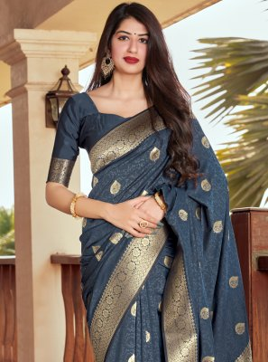 Woven Navy Blue Silk Traditional Designer Saree