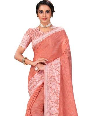 Woven Peach Linen Designer Traditional Saree