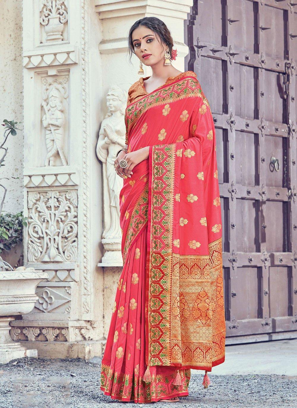 Woven Peach Silk Designer Traditional Saree